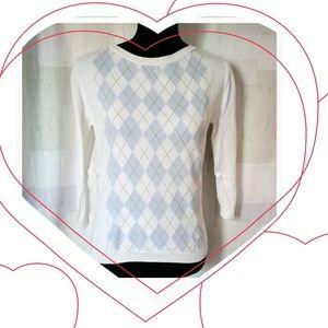 Burberry London wht with light blue argyle sweater
